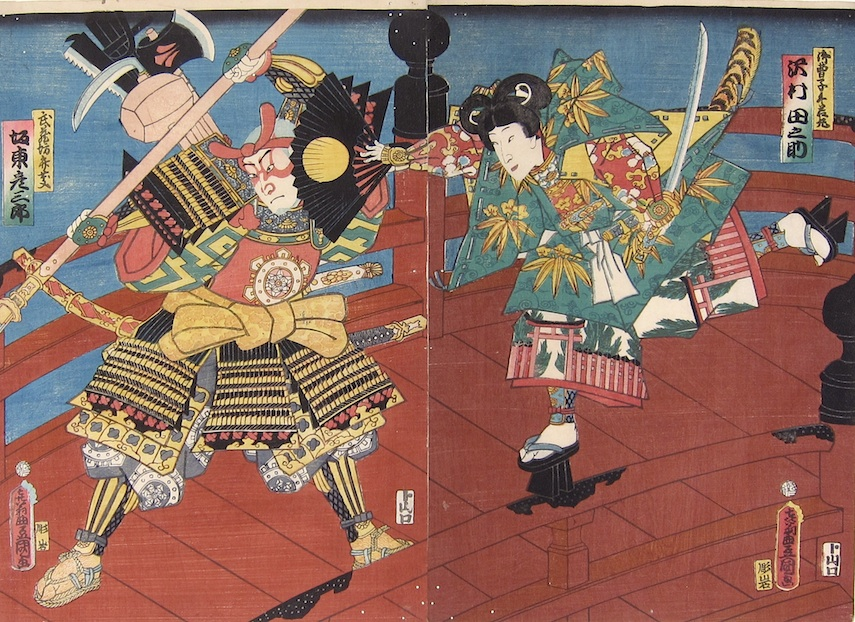 Kunisada, Benkei and Yoshitsune fighting on Gojo Bridge-Utagawa Kunisada, Toyokuni III, Benkei, Yoshitsune, japanese woodblock prints, samurai prints, ukiyo-e art