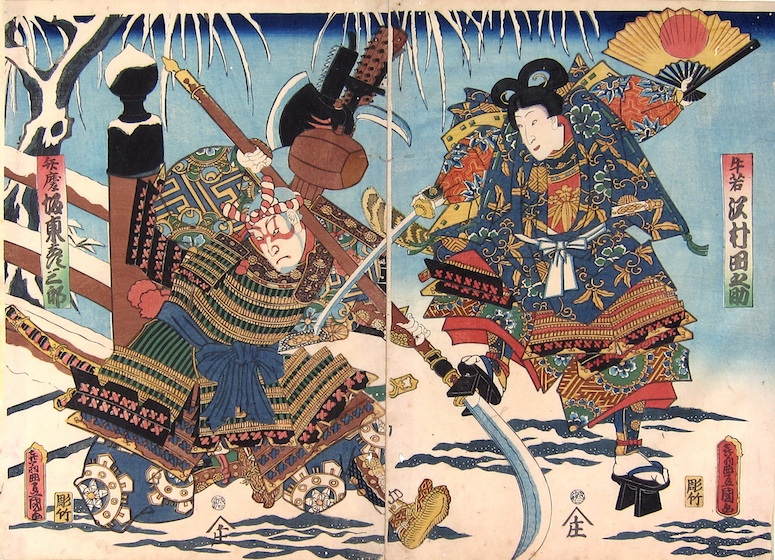 Kunisada_Fight_on_Gojo_Bridge_in_Snow.jp