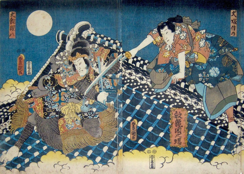 Kunisada, Hakkenden - Genpachi and Shino Fighting on the Roof of the Governor's Palace-Utagawa Kunisada, Toyokuni III, Eight Dog Heroes, Hakkenden, Kabuki theater, japanese woodblock prints, ukiyo-e art, japanese prints for sale