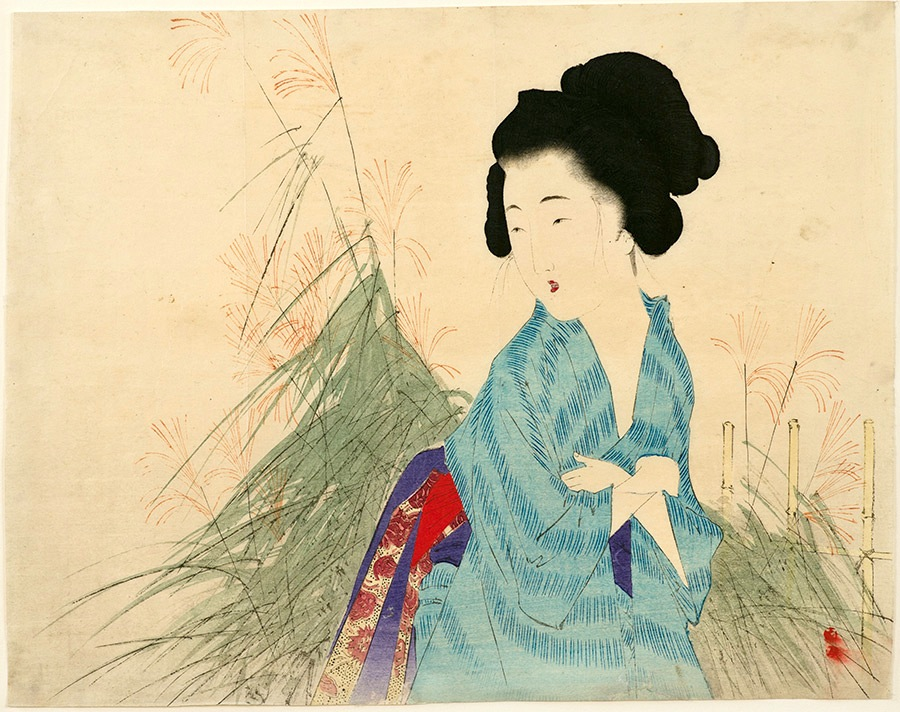 Toshikata, A Beauty Looking at Autumn Grass-Mizuno Toshikata, Kuchi-e, Bungei Kurabu, japanese woodblock prints, ukiyo-e art, meiji era prints, bijin pictures