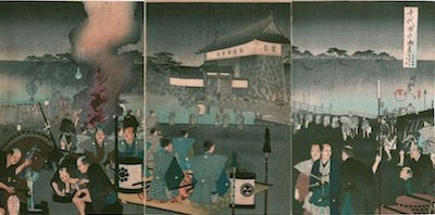 Chikanobu, Various Daimyo Approaching the Ote Gate of Edo Castle