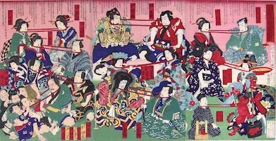 Chikanobu, Neck Wrestling between Kabuki Characters