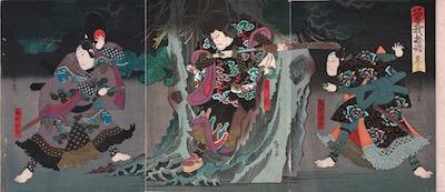 Hirosada, Actors as Ettyujiro and Kagekiyo in Gedatsu