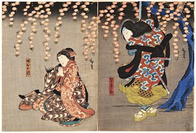 Hirosada, Arashi Rikaku II and Nakamura Daikichi in Hana Ikada