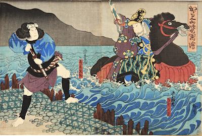 Hirosada, Kataoka Gado II and Onoe Tamizo II in Kagamiyama Sugata no Utsushie