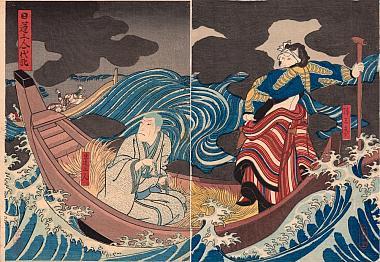 Hirosada, Life of St Nichiren - Ichikawa Ebizo V as the Boatman Yasaburo and Jitsukawa Ensaburo as Nichiren Shonin
