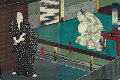 Hirosada, Mimasu Daigoro IV as Namiki Shoza and Nakamura Utaemon IV as Danshichi Mohei