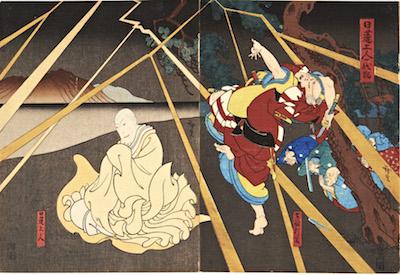 Hirosada, Bando Hachigoro I and Jitsukawa Enzaburo in Nichiren Shonin Minori no Umi