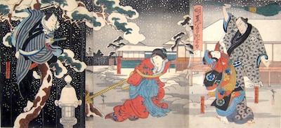 Hirosada, Snow at Yoshiwara - Urazato