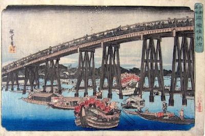 Hiroshige, Fireworks at Ryogoku Bridge
