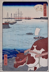 Hiroshige II, 36 Views of the Eastern Capital - The Shoreline at Takanawa