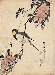 Hiroshige, Kacho-e of a Great-tit on a Plum Branch