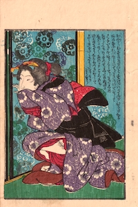 Hiroshige (attrib.), Shunga - Single Leaf from 'Double Cherry Blossoms'