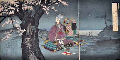 Kiyochika, Taira no Tadanori About to Sleep Under a Cherry Tree