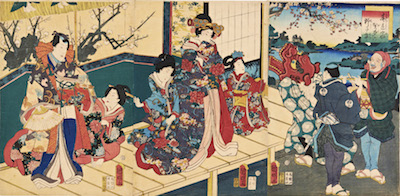 Kuniaki II, Spring Colours - Lion Dancers at a Mansion