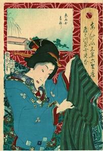 Kunichika, 36 Tokyo Restaurants Compared with Geishas 1