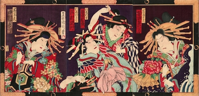 Kunichika, Bando Hikosaburo as Iwafuji in Kagamiyama
