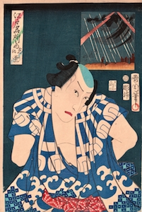 Kunichika, Famous Places of Edo - Kawarazaki Gonjuro as Mizuguruma no Gonji
