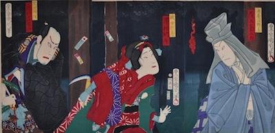 Kunichika, Onoe Kikugoro plays the ghost of priest Koyo-hoshi