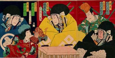 Kunichika, The Helmet Selection at Hachiman Shrine