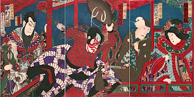 Kunichika, Ichikawa Danjuro as Watonai in Kokusen'ya Gassen