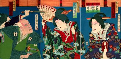 Kunichika, Ichikawa Danjuro in Ura-Omote Yanagi no Uchiwa-e
