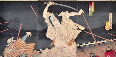 Kunichika, Ichikawa Sadanji as Sano Jirozaemon from the Kabuki Play Kagotsurube
