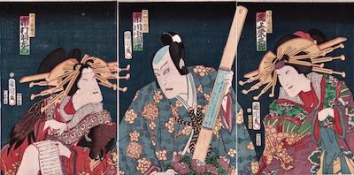 Kunichika, Ichimura Uzaemon, Ichikawa Kodanji in Ichi-no-Tani Futaba Gunki