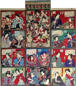 Kunichika, Kabuki Actors Sugoroku Board
