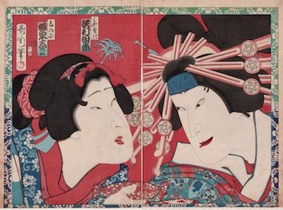Kunichika, Sawamura Tanosuke III as Miyagino and Bando Mitsugoro VI as Shinobu