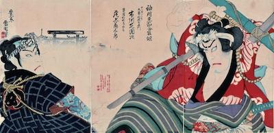 Kunichika, Nakamura Shikan IV as Daihachi and Onoe Kikugoro V as Tatsugoro
