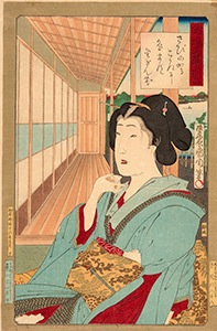 Kunichika, Newly Woven Brocades - Musashi Beauties, Beauty Drinking Tea