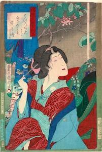 Kunichika, Newly Woven Brocades - Musashi Beauties, Beauty with Hairpins