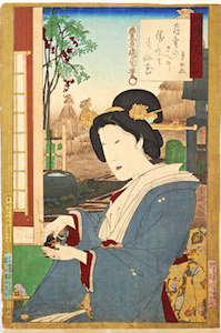 Kunichika, Newly Woven Brocades - Musashi Beauties, Beauty at Window