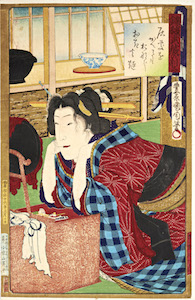 Kunichika, Newly Woven Brocades - Musashi Beauties, Beauty at Mirror