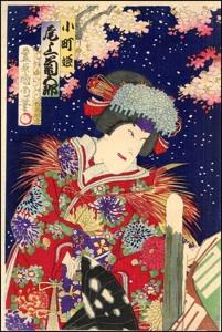 Kunichika, Onoe Kikugoro V and Cherry Blossom