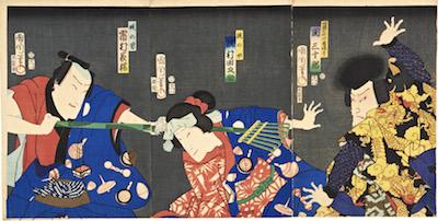 Kunichika, Ichimura Kakitsu, Tanosuke Sawamura, Sanjuro Seki in a Kabuki Play