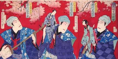 Kunichika, Nakamura Sojuro, Onoe Kikugoro and Ichikawa Sadanji as Puppeteers