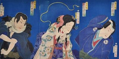 Kunichika, Sawamura Tanosuke as Princess Kiyo in the Play Hidakagawa