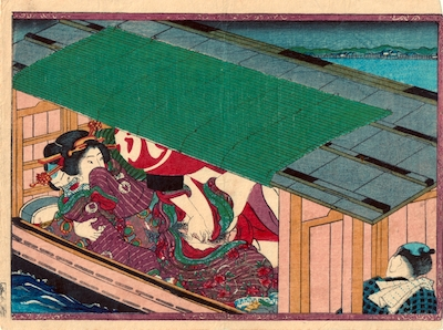 Kunichika, Shunga Leaf from 'Geisha From the House of Spring Flowers' - Yakatabune