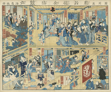 Kunichika, E-sugoroku Board of a Teahouse in the Yoshiwara