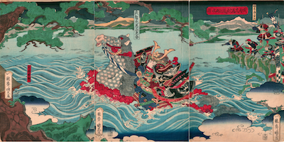 Kunihisa II, Takechi Samanosuke Mitsuharu Crosses Lake Biwa
