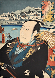 Kunisada, Actors at the 53 Stations of the Tokaido Road - Takanawa