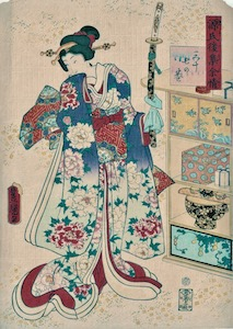 Kunisada, 54 Chapters of the Tale of the Genji - Yokobue (Flute)