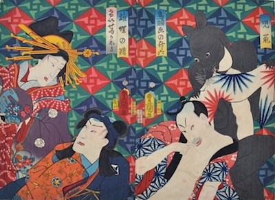Kunisada, Actors in Play with Mouse
