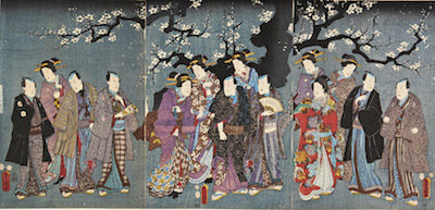 Kunisada, Actors Viewing Cherry Blossom