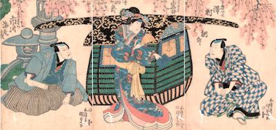 Kunisada, Iwai Hanshiro, Ichikawa Ebizo and Sawamura Morimasu