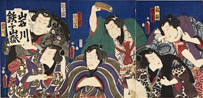 Kunisada, Bando Shuka I and Iwai Kumesaburo III in Sumoba