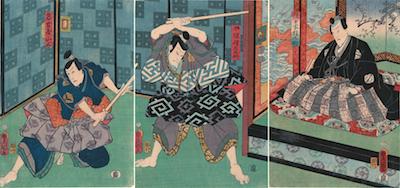 Kunisada, Actors in a Scene from Ukiyozuka Hiyoku no Inazuma
