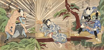 Kunisada, Saki Sanjuro, Nakamura Karoku and Bando Minosuke in Kitsunebi